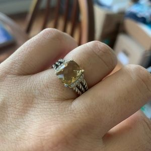 David Yurman Citrine & Diamond Pet. Wheaton ring